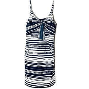 Cabi Navy White Striped dress front tassel Small